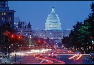 Washington DC Capitol traffic lights at night