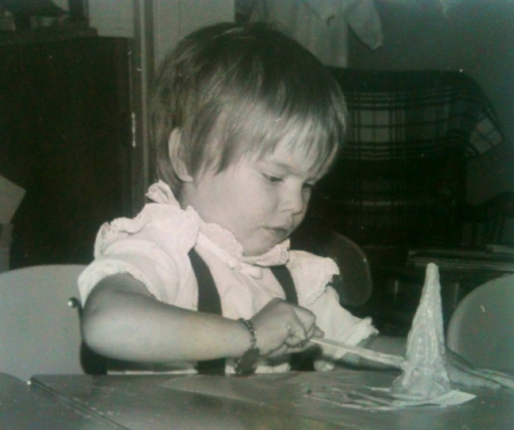Painting my ice cream cone Christmas tree in 1974