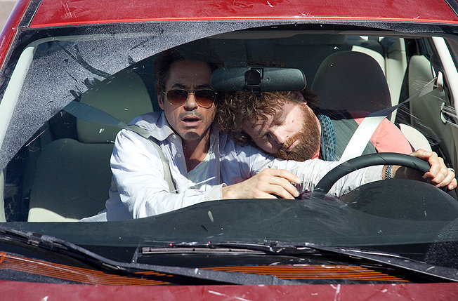 "The lighter side of sleep driving:  Robert Downey, Jr. and Zach Galifianakis in ""Due Date""."
