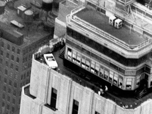 1965 Mustang on observation deck of Empire State Building / Image Courtesy:  Ford