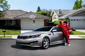 NBA Clippers power forward, Blake Griffin, in a promotional still from a 2012 Kia ad campaign