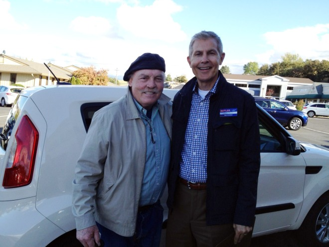Stacy Keach and Butler Ford sales consultant Rocky Moore